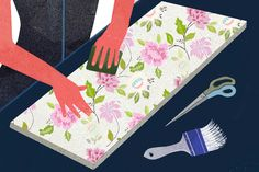 How-to-decorate-furniture-with-wallpaper-Pre-Cut-wallpaper-and-apply
