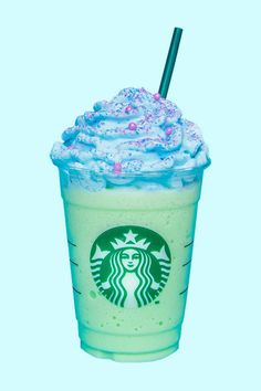 OMG, Starbucks Is Officially Releasing a Mermaid Frappuccino Starbucks Slime, Bebidas Do Starbucks, Starbucks Flavors, Secret Starbucks Drinks, Starbucks Secret Menu Drinks, Healthy Starbucks, Starbucks Frappuccino, Colorful Drinks, Pumpkin Spice Coffee
