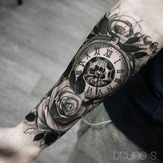 Pocket watch tattoos, clock tattoos, clock tattoo sleeve, chicano t Tattoo Girls, Girl Tattoos, Tattoos For Guys, Female Tattoos, Tattoos Pics, Tattoo Allergy, Clock Tattoo Sleeve, Clock Tattoos, Tattoo Sleeves
