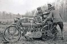 A Harley V-twin with a Hotchkiss 8mm machinegun. Harleys were used by the military in the Pancho Villa Expedition, but World War I was the first time the motorcycle had been adopted for combat service. Harley-Davidson provided about 15,000 machines during WWI.