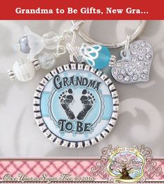 """Grandma to Be Gifts, New Grandma, Pregnancy Announcement, Blue Or Pink, Grandma Key Chain. This personalized bezel key chain (or necklace) is perfect for an expecting mom or grandma. The pendant has coordinating beads (may vary slightly) and comes with a heart charm. Color scheme can change to pink, or yellow..etc. (but will remain in the blue if nothing is indicated at checkout) If necklace is selected at checkout it will come with a 24"""" ball chain (that can be shortened easily with..."""