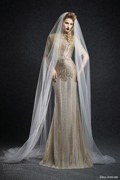 ersa atelier fall 2015 eleonor gold lace wedding dress half sleeves high neckline sheath