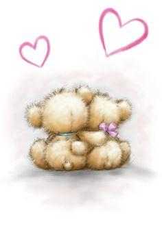 Baby Animal Drawings, Cute Bear Drawings, Teddy Bear Images, Teddy Bear Pictures, Cute Images, Cute Pictures, Watercolor Card, Teddy Bear Drawing, Cute Clipart