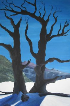 This painting is of two dead juniper trees. I saw them when I was riding down the Ute Trail into the Black Canyon of the Gunnison River on Xmas Day. It was 14° out when we got on our horses. Yes, I'm nuts about riding, but more so about trees. Its sold to someone in WA state. This painting has SOLD - H. Cedar Keshet
