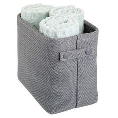 mDesign Soft Cotton Fabric Closet Storage Organizer Bin Basket Storage Organizer for Bathroom - Coated Interior and Attached Handles - Use on Vanity, Cabinet, Shelf, Countertop - Tall - Charcoal Gray Fabric Storage Bins, Cube Storage, Closet Storage, Storage Baskets, Closet Shelves, Towel Storage, Bathroom Vanity Storage, Bathroom Organization, Storage Organization