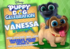 Puppy Dogs Pals Birthday Invitation - Bingo Rolly Disney Junior - We deliver your order in record time!, less than 4 hour! Best Value by RaizaysuGaleria on Etsy