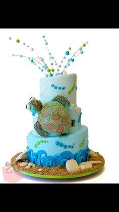 Sea Turtle Cake by Pink Cake Box. Beach Themed Cakes, Beach Cakes, Cupcakes, Cupcake Cakes, Shoe Cakes, Pink Cake Box, Pink Cakes, Ocean Cakes, Nautical Cake