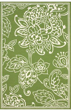 Sundeck Indoor Outdoor Floral Green Rug | Contemporary Rugs #RugsUSA