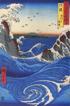 fourteenth:  Wild Sea Breaking on the Rocks Hiroshige, 1797–1858 Japan