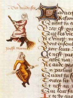 vintage old witch illustrations manuscript
