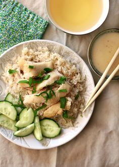 ginger and garlic flavored chicken and rice - delicious, and not too difficult to make. and the broth makes for a delicious soup too