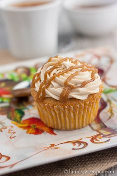 apple cider cupcakes with salted caramel buttercream.... Im skipping the pumpkin cheescake this year!