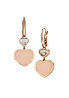 Chopard | Happy Hearts Earrings - 18k rose gold and rosé stone | 837482-5610