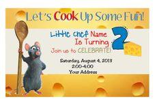 Ratatouille Birthday Invitation PDF Download @ www.facebook.com/95Designs