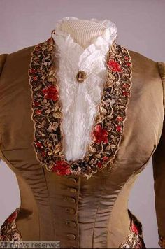 "Victorian Bodice. Beautiful details at the collar, neckline. Source: Antwerp Fashion Museum ""MoMu""."