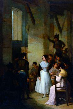 Joaquín Domínguez Bécquer. Baile en un interior, 1841. Colección Carmen Thyssen-Bornemisza en préstamo gratuito al Museo Carmen Thyssen Málaga