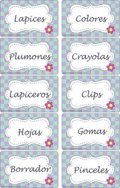 BORDERS FOR KID: Tarjetas Organizadoras Escolares Math For Kids, Crafts For Kids, Spanish Lesson Plans, School Labels, English Activities, School Items, School Worksheets, Classroom Decor, Back To School