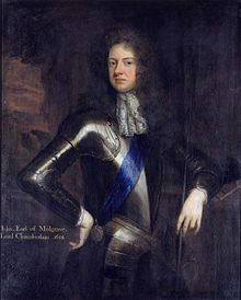 John Sheffield, 1st Duke of Buckingham and Normanby, KG, PC (7 April 1648 – 24 February 1721), was an English poet and notable Tory politician of the late Stuart period, who served as Lord Privy Seal and Lord President of the Council. In 1682 he was dismissed from the court, apparently for putting himself forward as a suitor for the Princess Anne, but on the accession of King James II, he received a seat in the Privy Council, and was made Lord Chamberlain.