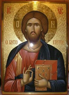 Icon of Christ Pantocrator Religious Images, Religious Icons, Religious Art, Byzantine Icons, Byzantine Art, St Mark The Evangelist, Christ Pantocrator, Church Icon, Pictures Of Jesus Christ