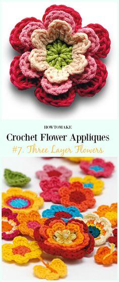 Three Layer Flowers Free Crochet Pattern-Easy #Crochet #Flower Appliques Free Patterns