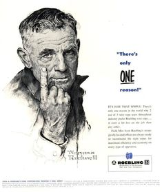 "Norman Rockwell, ""There is Only One Reason,"" advertising illustration, Roebling Corporation Steel Wire Rope, Fortune Magazine, May 1953 Types Of Art, Type Art, Jc Leyendecker, Norman Rockwell Art, Fortune Magazine, Vintage Advertisements, Retro Ads, Small Town America, Artist Journal"