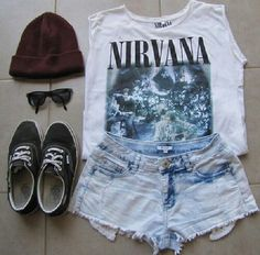 Replace shorts with skinny jeans and throw in a faded red flannel and we've got a perfect grunge outfit