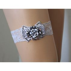 FREE SHİP Wedding Garter, Gray Lace Bridal Garter,Wedding... (€11) ❤ liked on Polyvore featuring intimates, bridal lingerie, lace lingerie, wedding lingerie, lacy lingerie and grey lingerie