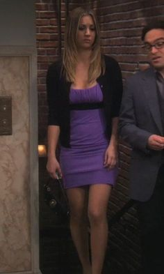 Penny's purple dress from The Big Bang Theory. Outfit Details: https://wornontv.net/2297/ #TheBigBangTheory
