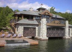 Muskoka boat house with natural slate roofing