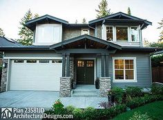 Plan No: W23581JD Style: Craftsman, Northwest Total Living Area: 3,857 sq. ft. Main Flr.: 1,810 sq. ft. 2nd Flr: 2,047 sq. ft. Rear Porch: 231 sq. ft. Attached Garage: 3 Car, 624 sq. ft. Bedrooms: 4/5 Full Bathrooms: 4 Half Bathrooms: None