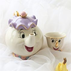 "Universe of goods - Buy ""Cartoon Tea Set Beauty And The Beast Taza Bela E A Fera Mrs Potts Teapot Chip Cup Set Lovely Gift Creative Tea Milk Drinkware"" for only USD. Beauty And The Beast Party, Disney Beauty And The Beast, Chip Beauty And The Beast, Beauty Beast, Mrs Potts Teapot, Chip Tea Cup, Deco Disney, Walt Disney, Tea Sets"