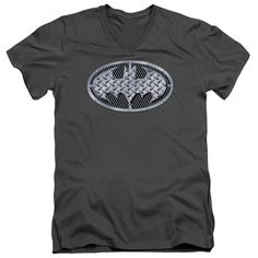 BATMAN/STEEL MESH SHIELD - S/S ADULT V-NECK - CHARCOAL -