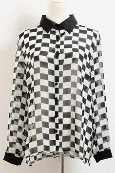 Black Check Chiffon Shirt  #Romwomen