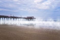 Misty Waters Around Tybee Island Pier - Modern hi-res digital canvas print from http://www.the-artwork-factory.com/photo-art/misty-waters-around-tybee-island-pier-photo%20art.html By The Artwork Factory®.