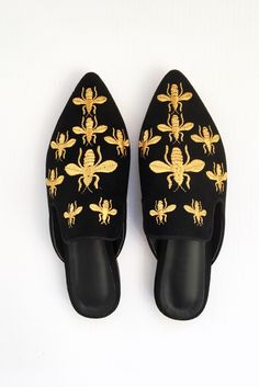 Embroidered Bee Slide from ascot   hart