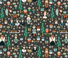 the nutcracker in gray fabric by oliveandruby on Spoonflower - custom fabric