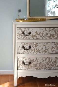 How to Paint a Dresser - Thirft Store Furniture makeover - Use Furniture Stencils for Painted Furniture DIY Projects - French Floral Damask Stencils by Royal Design Studio(Diy Furniture Baby)
