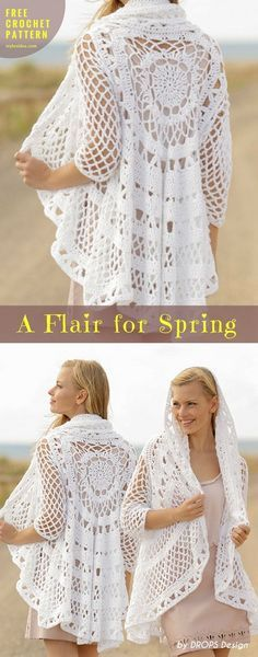 We look for the best idea for coming spring systematically. A Flair for Spring #FreecrochetPattern #CrochetTunique Jacket| size: S - XXXL | Written in PDF | US Terms Level: beginner yarn: 800-950-1150 g color 16, white hook: 4.5 mm (7) Author: by DROPS Design