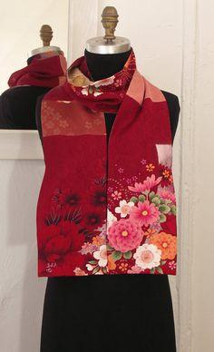 Silk Kimono Scarf, Amazing Japanese Vintage versitile scarf, Vintage Yuzen-dyed fabric, Red red