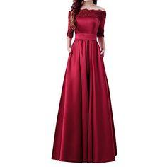 Womens Formal ALine Off the Shoulder LaceUp Satin Prom Evening Dresses US8 Burgundy * For more information, visit image link. (Note:Amazon affiliate link)