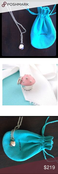 "Tiffany & Co Silver Enamel Cupcake Necklace No longer available in stores. Pink enamel cupcake charm and 16"" sterling silver chain both authentic from Tiffany & Co and in great condition. Tiffany & Co. Jewelry Necklaces"