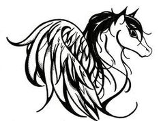 horse with wings (heart shaped) tattoo idea, but I've modified it to look a bit nicer and more like a real horse