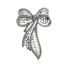 SILVER MARCASITE BOW BROOCH