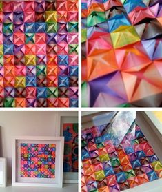 the red thread: DIY Affordable Art - Part Origami Diy Origami, Origami Wall Art, Origami Quilt, Origami And Quilling, Origami Fish, Origami Paper, Diy Paper, Paper Wall Art, Diy Wall Art