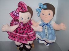 Cloth Doll PDF Pattern Tea for Two Twins for You by PeekabooPorch, $9.00
