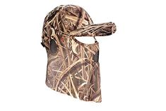 QuikCamo Mossy Oak Shadow Grass Blades Camouflage Cap, Hat, with Hunting Face Mask Combination (Duck's Unlimited Official Waterfowl Pattern) camouflage