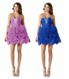 6dd0f45f05 Cute short formal prom homecoming poofy rosette floral princess dresses 2014
