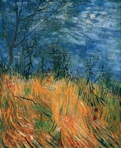 Edge of a Wheatfield with Poppies, 1887 by Vincent van Gogh. Post-Impressionism. landscape. Private Collection
