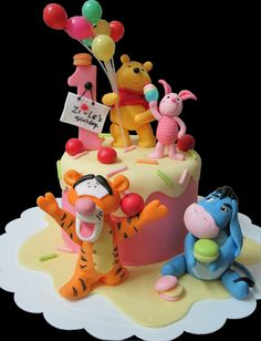 Mom & Daughter Cakes: Winnie The Pooh, Tigger, Eeyore And Piglet 1st Birthday Cake - Fully Cropped
