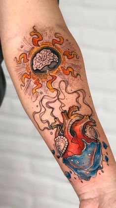 Brazilian artist Robson Carvalho is one of those ink masters who work like painters on the canvas of human body. His tattoos are real works of art on skin. Ink Master Tattoos, Body Art Tattoos, Cool Tattoos, Tatoos, Heart Vs Brain, Brain Tattoo, Libra Tattoo, Leg Tattoos Women, Beautiful Drawings